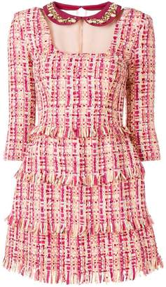 Elisabetta Franchi fringed boucle tweed dress