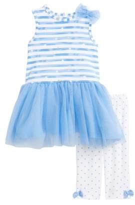 Little Me Stripe Dress & Leggings Set