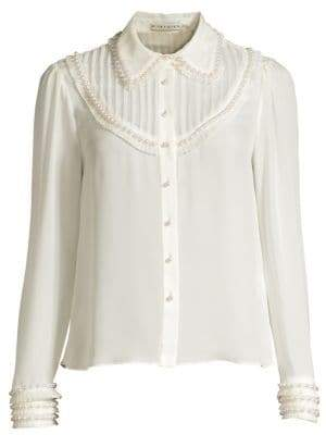 Alice + Olivia Noreen Pintuck Yoke Silk Blouse