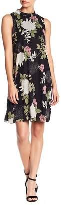 TASH + SOPHIE Floral Mock Neck Mesh Dress