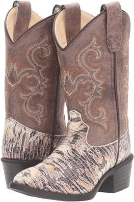 Old West Kids Boots J Toe Lizard Print Cowboy Boots