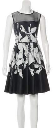 Halston Pleated Floral Dress Black Pleated Floral Dress