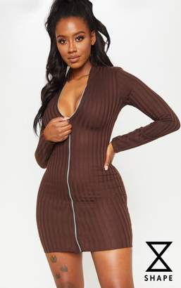 PrettyLittleThing Shape Chocolate Brown Ribbed Zip Front Bodycon Dress