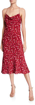 LIKELY Honor Floral Cowl-Neck Midi Slip Dress
