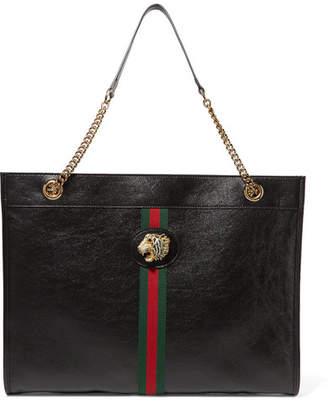 Gucci Rajah Large Embellished Leather Tote - Black