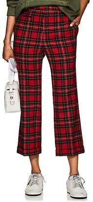 R 13 Women's Wool Plaid Straight-Leg Trousers - Red