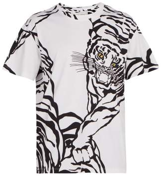 Valentino Tiger Print Cotton Jersey T Shirt - Mens - White