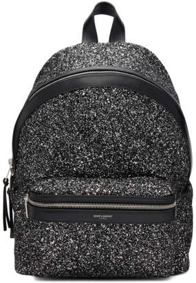 Saint Laurent Silver Glitter Mini City Backpack