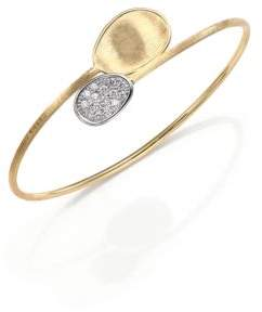 Marco Bicego Lunaria Diamond & 18K Yellow Gold Bypass Bangle Bracelet