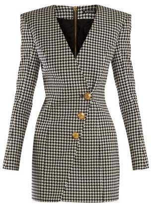 8fc4266fb6d9 Balmain Houndstooth Buttoned Mini Dress - Womens - Black White