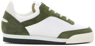 Comme des Garcons Green and White Pitch Low Sneakers
