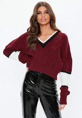 Missguided V Neck Colourblock Cable Jumper