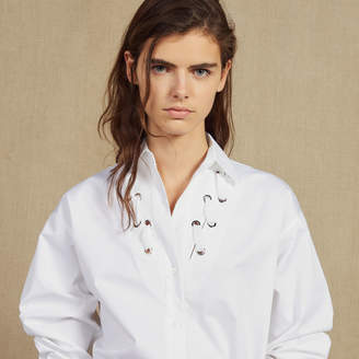 Sandro Low-Neck Shirt Trimmed With Eyelets