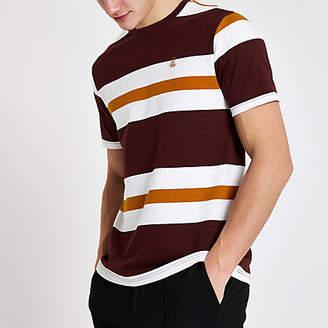 River Island R96 burgundy stripe slim fit T-shirt