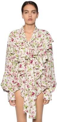 Faith Connexion Ruffled Floral Printed Silk Crepe Blouse