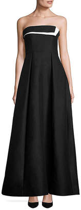 Halston Strapless Colorblocked Faille Gown