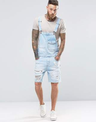 ASOS Short Overalls In Bleach Wash With Rips $60 thestylecure.com