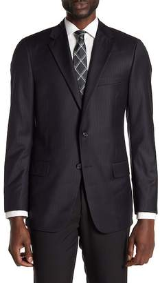 Hickey Freeman Black Tonal Stripe Two Button Notch Lapel Wool Classic Fit Suit Separates Jacket