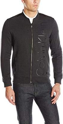 Calvin Klein Men's Long Sleeve Logo Mix Media Bomber Fleece Jacket