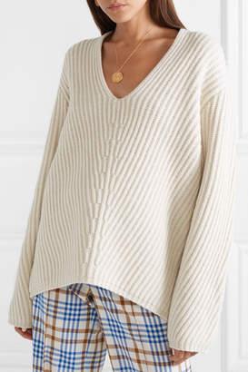 Acne Studios Deborah Ribbed Wool Sweater - Beige