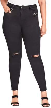 City Chic Harley Riveted Ripped Skinny Jeans