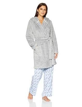 82cdca8244 Mae Women s Tweeded Shaggy Plush Wrap Robe with Hood