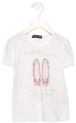 Blumarine Girls' Embellished Short Sleeve Top