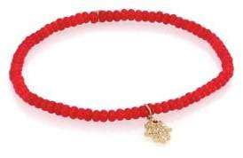Sydney Evan Hamsa Diamond, Red Coral& 14K Yellow Gold Hamsa Beaded Bracelet