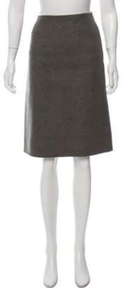 Oscar de la Renta Knee-Length Twill Skirt Grey Knee-Length Twill Skirt