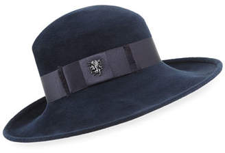 Philip Treacy Velour Fedora Hat w/ Satin Hat Band