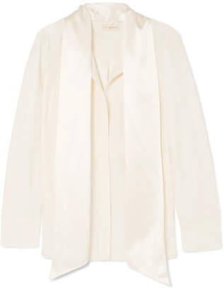 Tory Burch Sophia Pussy-bow Silk-satin Blouse - Ivory