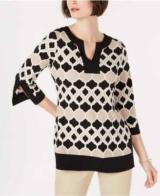 Charter Club Geo-Print Contrast-Trim Tunic Top