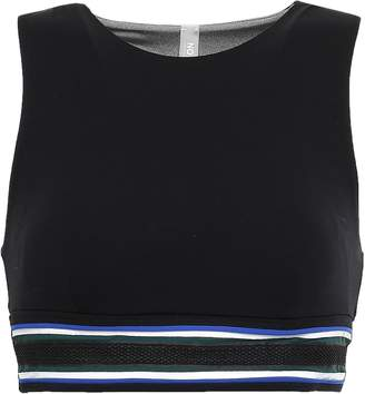 NO KA 'OI Anuenue Mesh-trimmed Striped Stretch Sports Bra