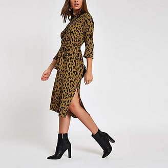River Island Khaki leopard print tie waist shirt dress
