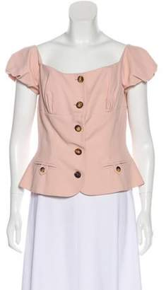 Christian Dior Structured Button-Up Blouse Pink Structured Button-Up Blouse