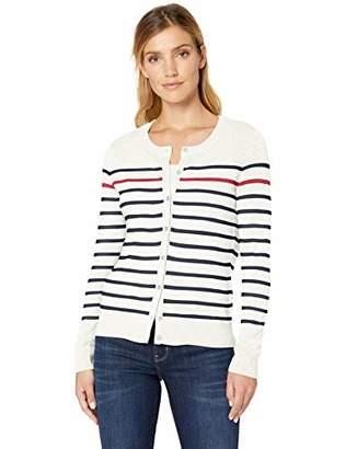Amazon Essentials Women's Lightweight Stripe Crewneck Cardigan Sweater