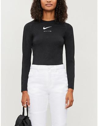 Alyx x Nike glitter short-sleeved stretch-jersey top