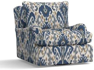 Pottery Barn Carlisle Upholstered Swivel Armchair - Print and Pattern