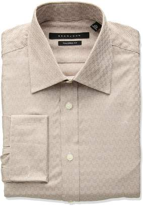 Sean John Men's Tailored Fit Check Spread Collar Dress Shirt