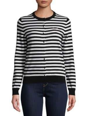 Lord & Taylor Plus Long-Sleeve Stripe Cardigan