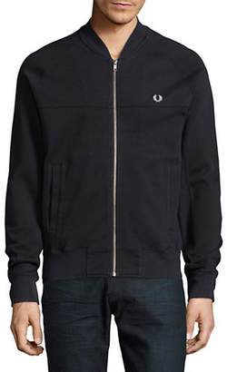 Fred Perry Knit Panelled Zip Front Bomber Jacket