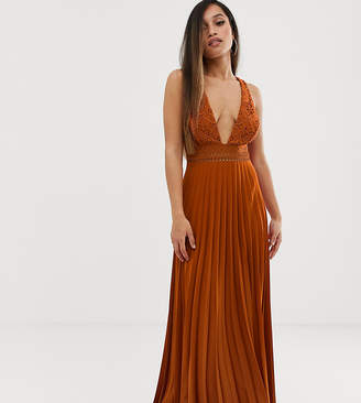 Asos DESIGN Petite sleeveless maxi dress with lace bodice and pleated skirt