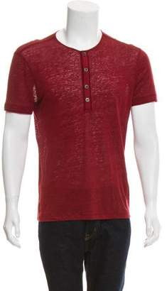 John Varvatos Linen Henley T-Shirt