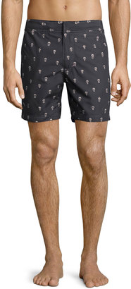 Robert Graham Transatlantic Classic Fit Swim Trunks, Blue/Multi Print $85 thestylecure.com