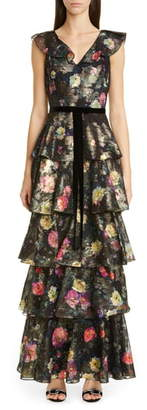Marchesa Metallic Floral Ruffle Tiered Gown