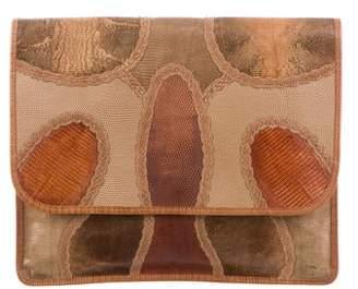 Carlos Falchi Python & Lizard Patchwork Clutch