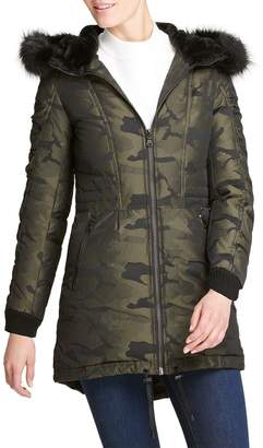 DKNY Camo-Print Faux-Fur Hooded Anorak Jacket