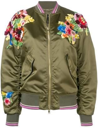 Escada green floral bomber jacket