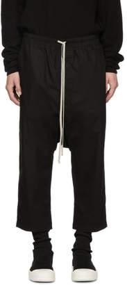 Rick Owens Black Drawstring Cropped Trousers