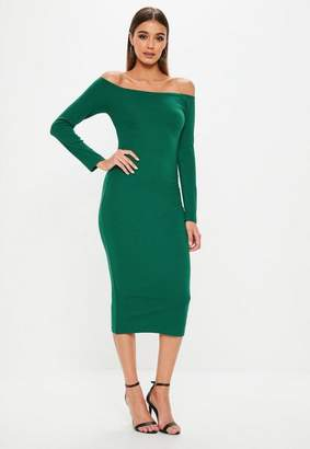Missguided Bardot Ribbed Midi Dress